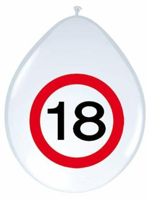 """8 Latex-Ballons, Verkehrsschild """"18"""""""