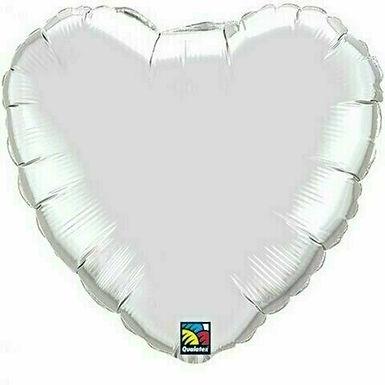 XXL Herzballon, silber (unifarben)