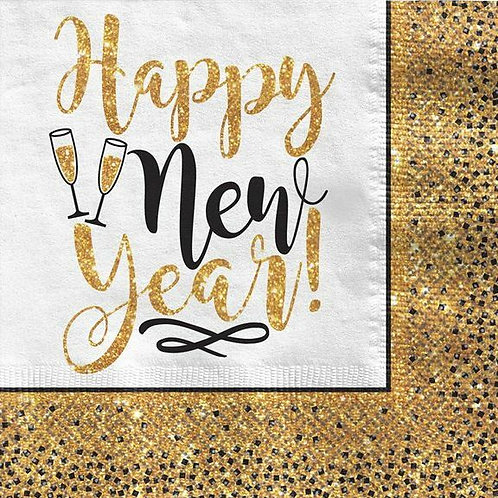 "Servietten ""Happy New Year Gold Glitter"""