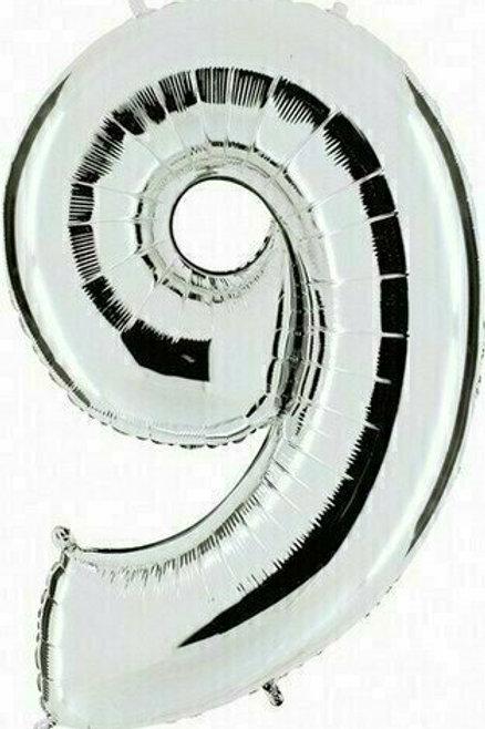 """Kleine Zahl """"9"""" - silber, zum selbst aufblasen (Luft)"""