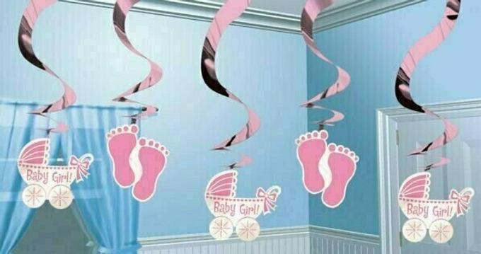 """Hanging Swirls """"Baby Girl"""""""