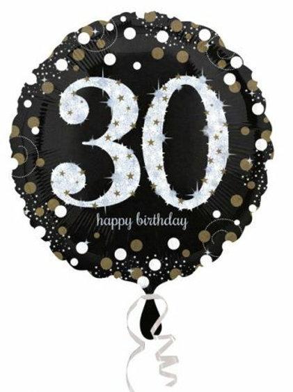 "Folienballon Happy Birthday ""30"" glitzernd gold/silber/schwarz"