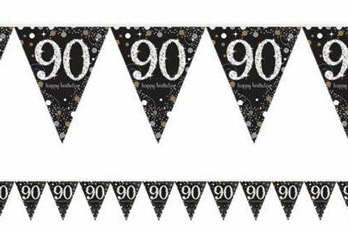 """Wimpelkette """"90 Happy Birthday"""" in gold/silber/schwarz"""