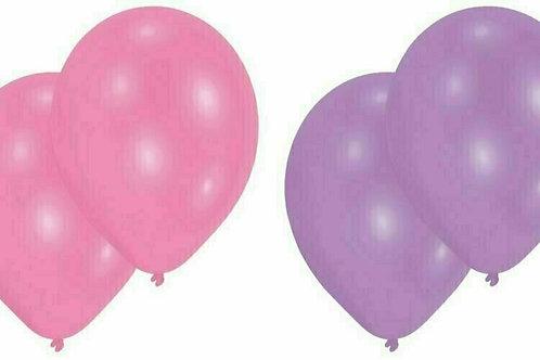 20 Latex-Ballons, Standardfarbe: rosa/violett, ungefüllt.