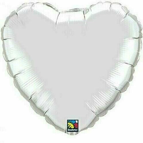 Herzballon, silber (unifarben)