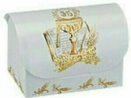 Bonbonieren-Schachtel zur Kommunion/Konfirmation in weiß, 10er Pack