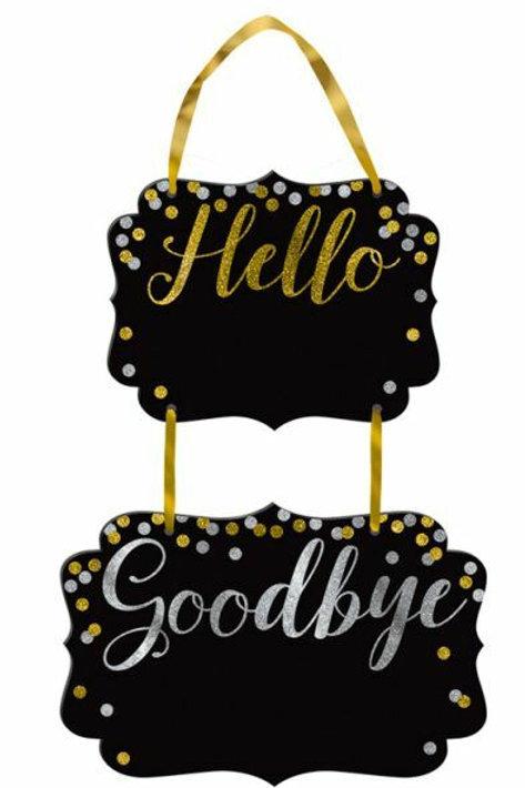 Kreidetafel-Schild Hello & Goodbye