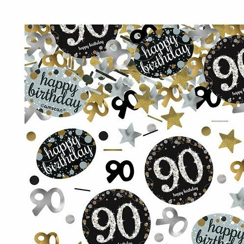 Tischkonfetti zum 90. Geburtstag in gold/silber/schwarz