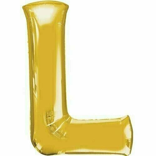 """Kleiner Buchstabe """"L"""" - gold, zum selbst aufblasen (Luft)"""