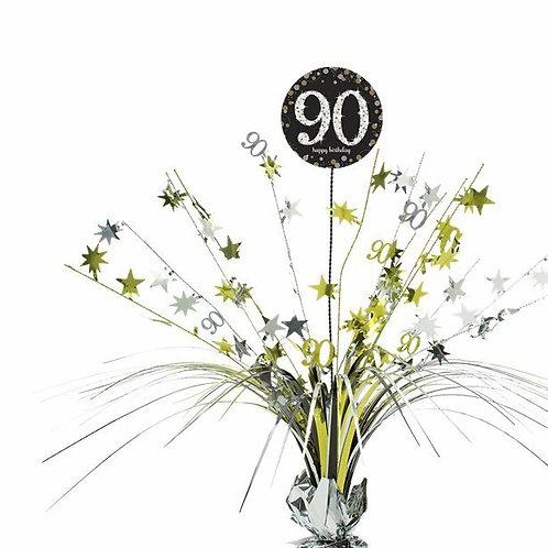 Centerpiece/Tischdeko zum 90. Geburtstag in gold/silber/schwarz