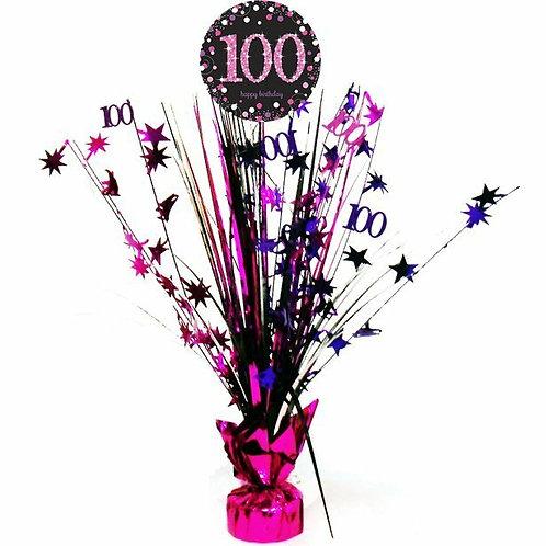 Centerpiece/Tischdeko zum 100. Geburtstag in pink/schwarz