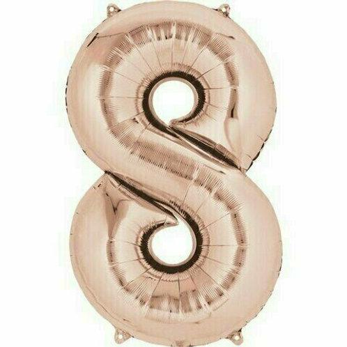 """Kleine Zahl """"8"""" - roségold, zum selbst aufblasen (Luft)"""
