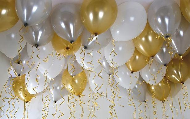 Latex-Ballons, Metallicfarben: silber, weiß, gold