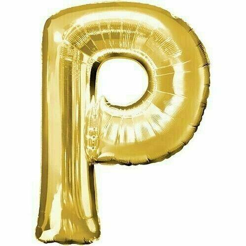 """Kleiner Buchstabe """"P"""" - gold, zum selbst aufblasen (Luft)"""