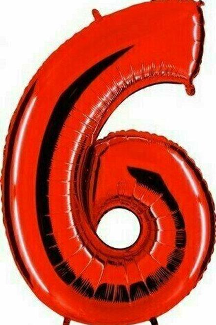 """Riesenzahl """"6"""" - rot"""