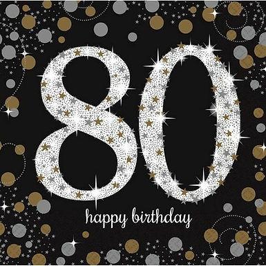 """Servietten  """"Happy Birthday 80"""" in gold/silber/schwarz"""