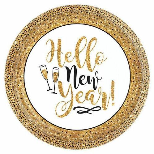 "Pappteller ""Hello New Year"""