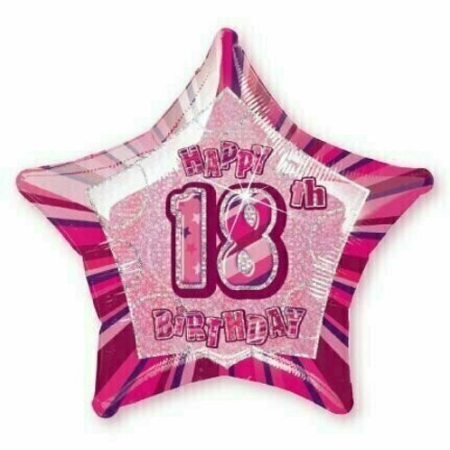 """Birthday Glitzer-Stern  """"18"""" holographisch pink"""