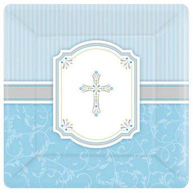 Teller: elegant mit Kreuz, hellblau