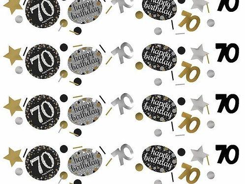 Tischkonfetti zum 70. Geburtstag in gold/silber/schwarz