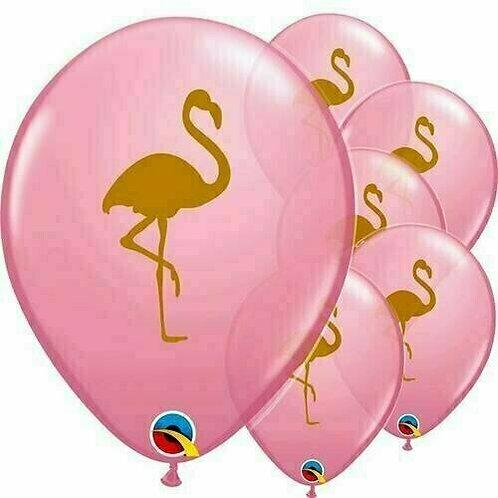 """Latexballon """"Flamingo"""", rosa mit goldenem Flamingo, Ø 28 cm, 6 Stück"""