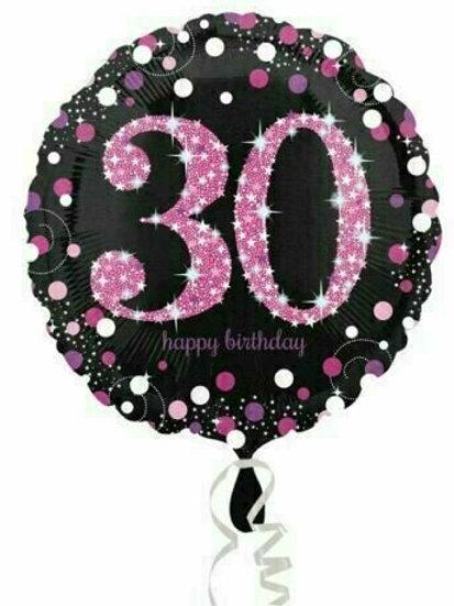"Folienballon Happy Birthday ""30"" glitzernd schwarz/pink"