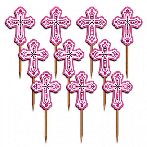 Cupcake-Dekoration Kreuz, rosa