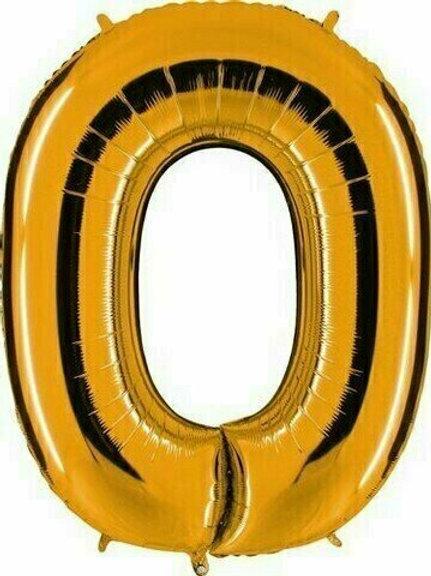 """Kleine Zahl """"0"""" - gold, zum selbst aufblasen (Luft)"""