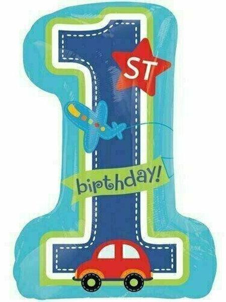 XXL-Ballon Erster Geburtstag Junge / Fahrzeuge