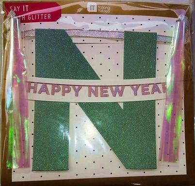 """Buchstaben-Girlande """"Happy New Year"""" irisierend"""