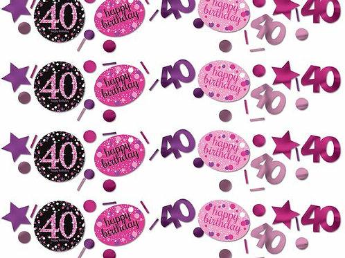 Tischkonfetti zum 40. Geburtstag in pink/schwarz