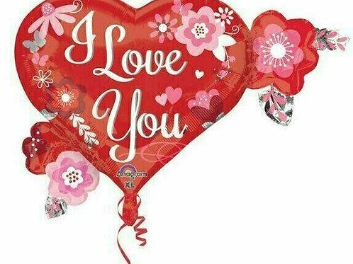 """XXL-Ballon """"I love you Herz mit Blumen"""""""