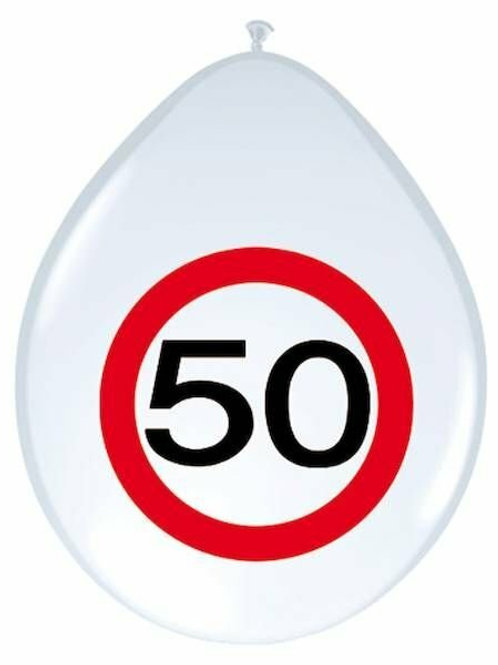 """8 Latex-Ballons, Verkehrsschild """"50"""""""