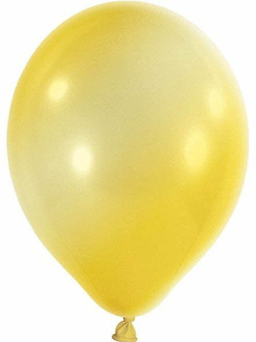 20 Latex-Ballons, Metallicfarbe: gelb