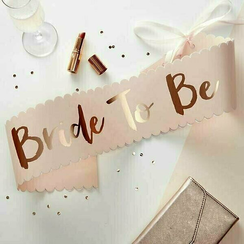 "Schärpe ""Bride to be""  apricot/rosè gold"