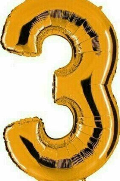 """Kleine Zahl """"3"""" - gold, zum selbst aufblasen (Luft)"""
