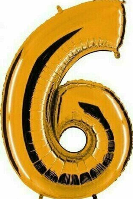 """Kleine Zahl """"6"""" - gold, zum selbst aufblasen (Luft)"""