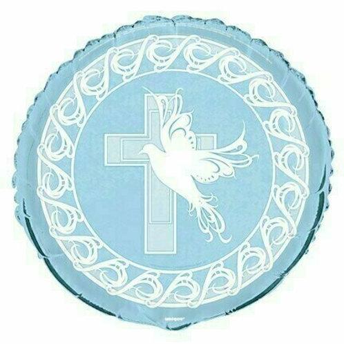 Folienballon Kreuz mit Taube / blau