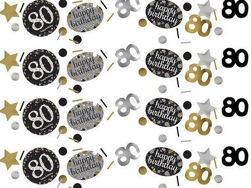 Tischkonfetti zum 80. Geburtstag in gold/silber/schwarz