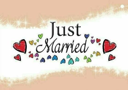 20er-Packung Weitflugkarten: Just Married, Herzen