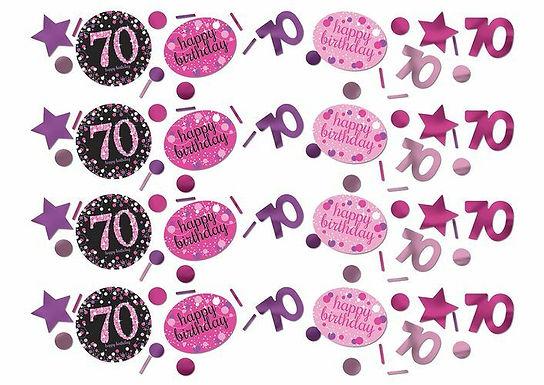 Tischkonfetti zum 70. Geburtstag in pink/schwarz