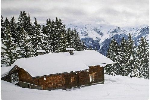 """Platzset """"Berghütte im Winter"""", 4er Set"""