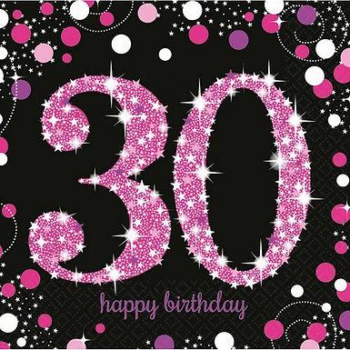 """Servietten  """"Happy Birthday 30"""" in pink/schwarz"""