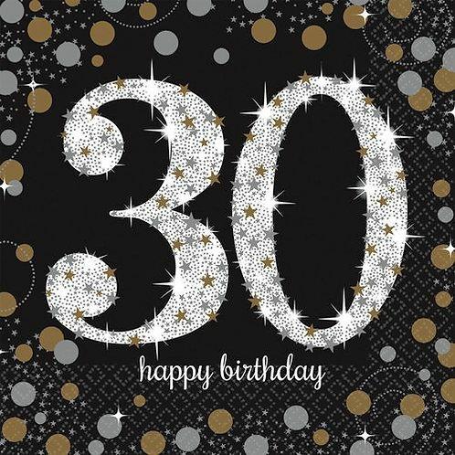 """Servietten  """"Happy Birthday 30"""" in gold/silber/schwarz"""