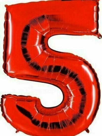 """Riesenzahl """"5"""" - rot"""