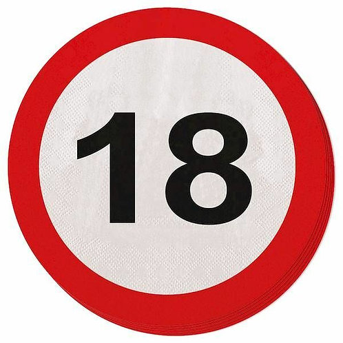 """Servietten Verkehrsschild """"18"""""""