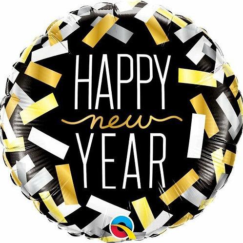"Folienballon ""Happy New Year Konfetti"" in gold, silber, schwarz"