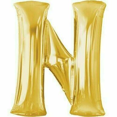 """Kleiner Buchstabe """"N"""" - gold, zum selbst aufblasen (Luft)"""