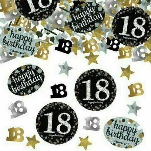 Tischkonfetti zum 18. Geburtstag in gold/silber/schwarz