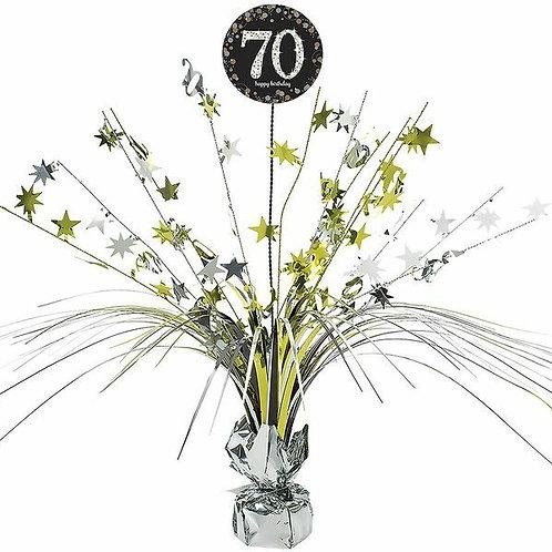 Centerpiece/Tischdeko zum 70. Geburtstag in gold/silber/schwarz